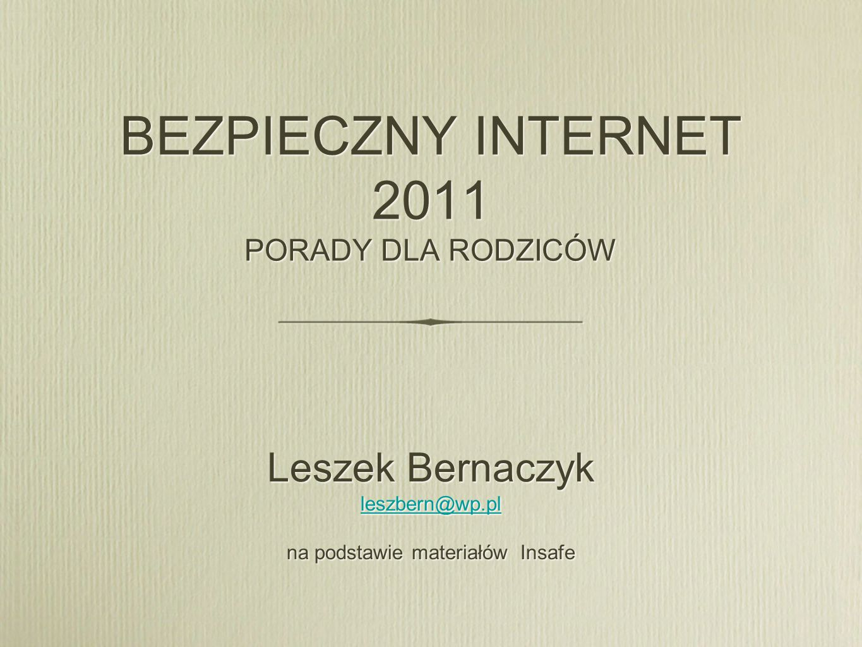 BEZPIECZNY INTERNET 2011 PORADY DLA RODZICÓW Leszek Bernaczyk leszbern@wp.pl na podstawie materiałów Insafe Leszek Bernaczyk leszbern@wp.pl na podstaw