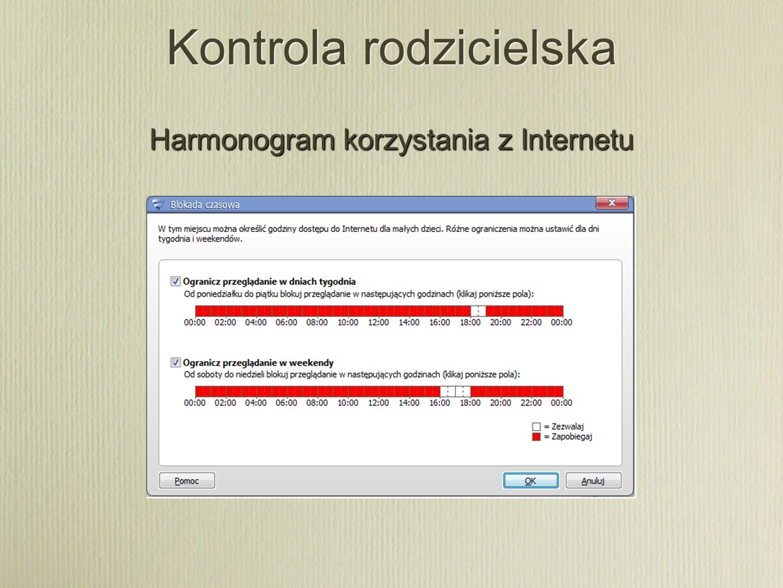 Kontrola rodzicielska Harmonogram korzystania z Internetu