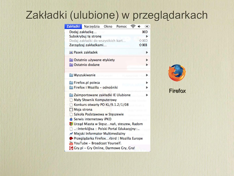 Zakładki (ulubione) w przeglądarkach Firefox