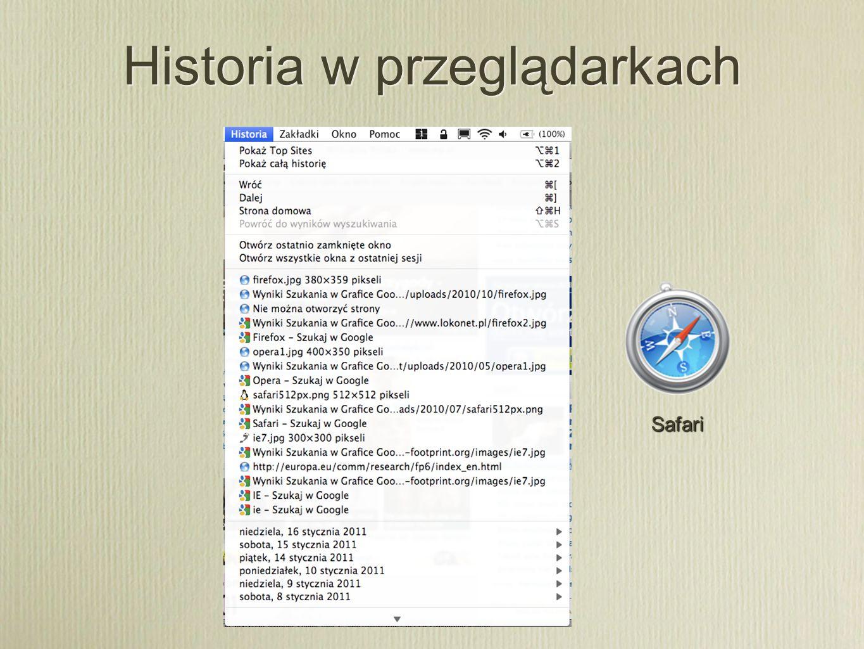 Historia w przeglądarkach Safari