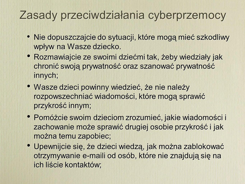 Zasady przeciwdziałania cyberprzemocy Nie dopuszczajcie do sytuacji, które mogą mieć szkodliwy wpływ na Wasze dziecko. Rozmawiajcie ze swoimi dziećmi