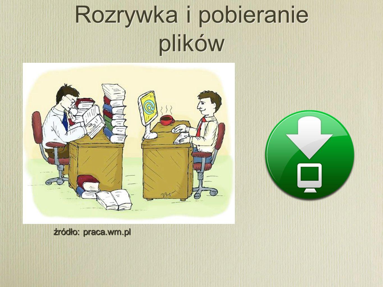 Rozrywka i pobieranie plików źródło: praca.wm.pl