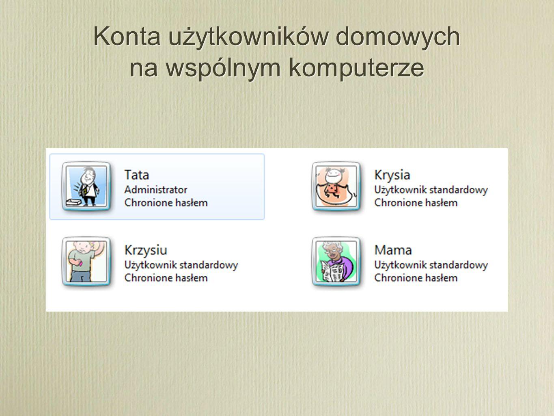 Konta użytkowników domowych na wspólnym komputerze