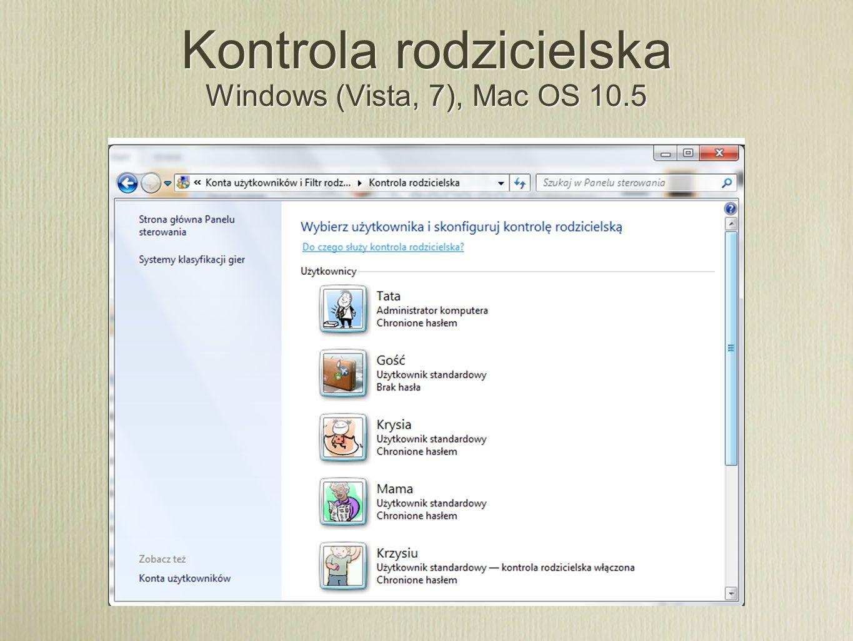 Kontrola rodzicielska Windows (Vista, 7), Mac OS 10.5
