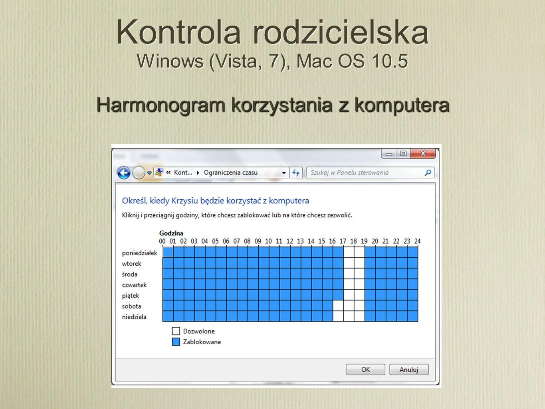 Kontrola rodzicielska Winows (Vista, 7), Mac OS 10.5 Harmonogram korzystania z komputera
