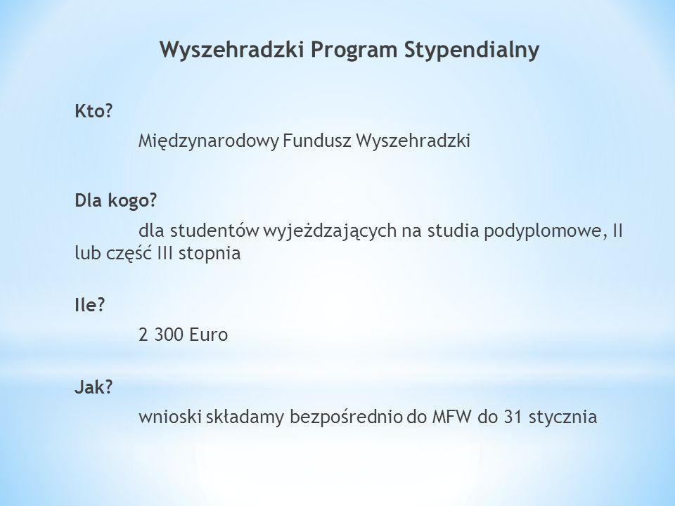 Wyszehradzki Program Stypendialny Kto. Międzynarodowy Fundusz Wyszehradzki Dla kogo.