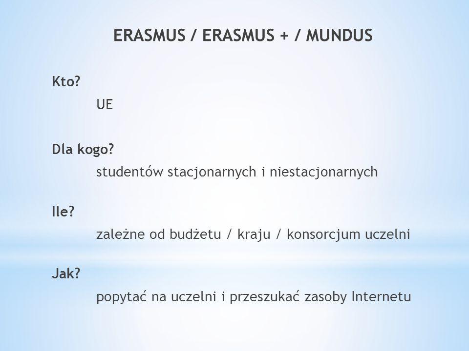 ERASMUS / ERASMUS + / MUNDUS Kto. UE Dla kogo. studentów stacjonarnych i niestacjonarnych Ile.