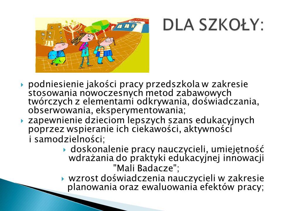  podniesienie jakości pracy przedszkola w zakresie stosowania nowoczesnych metod zabawowych twórczych z elementami odkrywania, doświadczania, obserwo