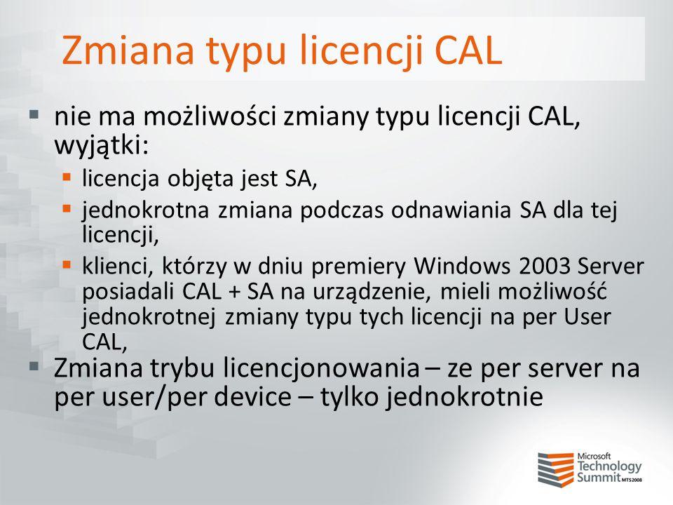 Zmiana typu licencji CAL  nie ma możliwości zmiany typu licencji CAL, wyjątki:  licencja objęta jest SA,  jednokrotna zmiana podczas odnawiania SA