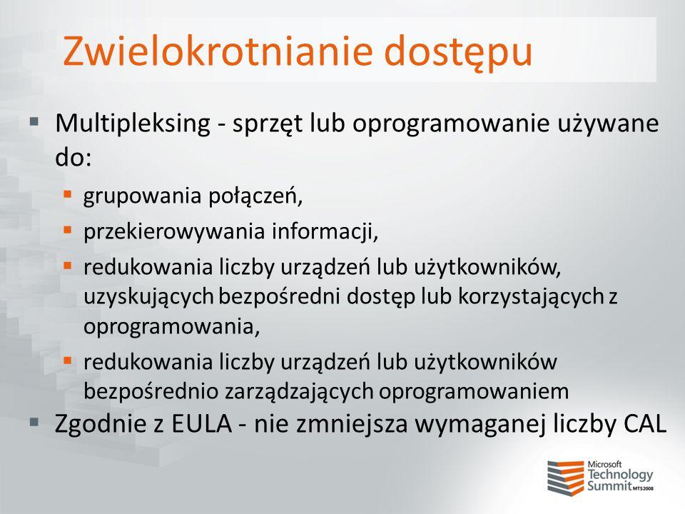 Zwielokrotnianie dostępu  Multipleksing - sprzęt lub oprogramowanie używane do:  grupowania połączeń,  przekierowywania informacji,  redukowania l