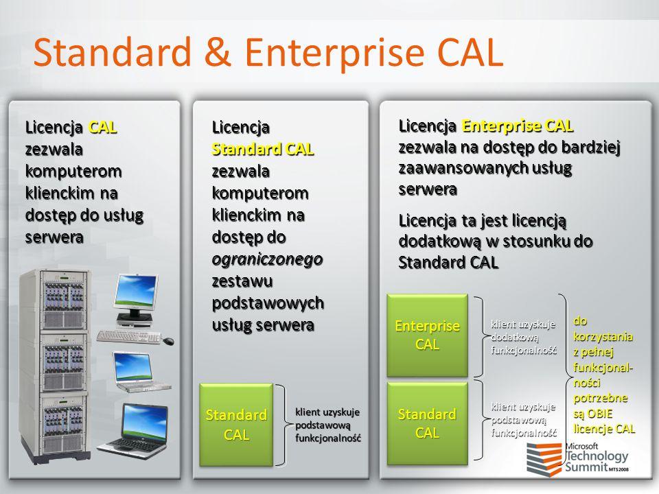 Licencja CAL zezwala komputerom klienckim na dostęp do usług serwera Licencja Enterprise CAL zezwala na dostęp do bardziej zaawansowanych usług serwer