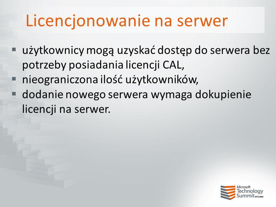 Licencjonowanie na serwer  użytkownicy mogą uzyskać dostęp do serwera bez potrzeby posiadania licencji CAL,  nieograniczona ilość użytkowników,  do