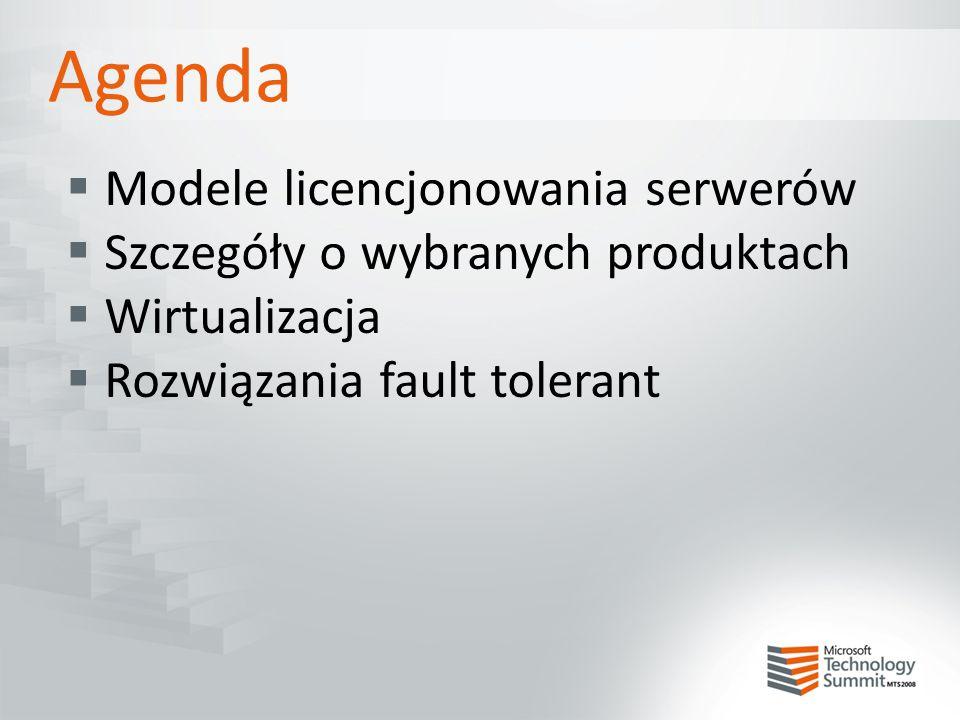Agenda  Modele licencjonowania serwerów  Szczegóły o wybranych produktach  Wirtualizacja  Rozwiązania fault tolerant
