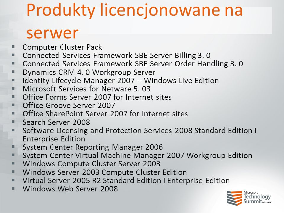 Produkty licencjonowane na serwer  Computer Cluster Pack  Connected Services Framework SBE Server Billing 3. 0  Connected Services Framework SBE Se