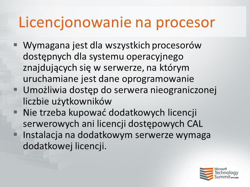 Licencjonowanie na procesor  Wymagana jest dla wszystkich procesorów dostępnych dla systemu operacyjnego znajdujących się w serwerze, na którym uruch