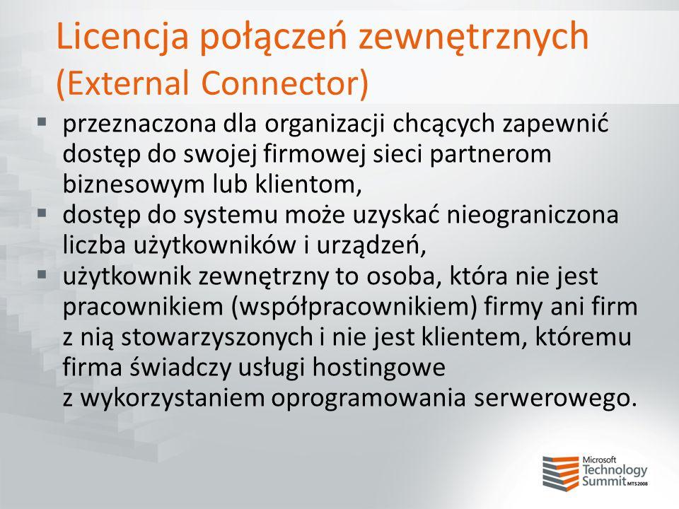 Licencja połączeń zewnętrznych (External Connector)  przeznaczona dla organizacji chcących zapewnić dostęp do swojej firmowej sieci partnerom bizneso