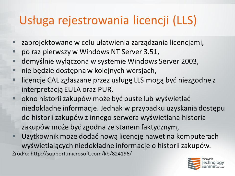 Usługa rejestrowania licencji (LLS)  zaprojektowane w celu ułatwienia zarządzania licencjami,  po raz pierwszy w Windows NT Server 3.51,  domyślnie