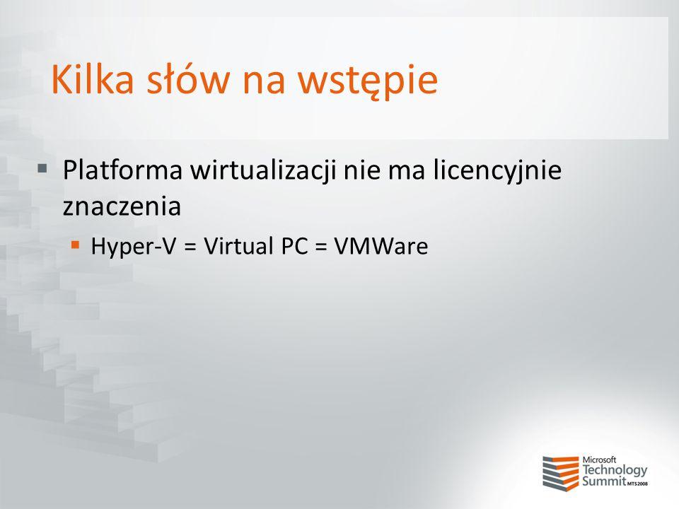 Kilka słów na wstępie  Platforma wirtualizacji nie ma licencyjnie znaczenia  Hyper-V = Virtual PC = VMWare