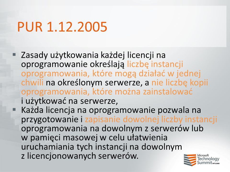 PUR 1.12.2005  Zasady użytkowania każdej licencji na oprogramowanie określają liczbę instancji oprogramowania, które mogą działać w jednej chwili na