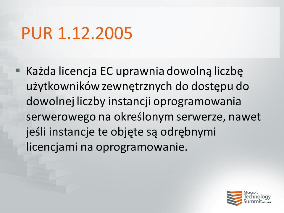 PUR 1.12.2005  Każda licencja EC uprawnia dowolną liczbę użytkowników zewnętrznych do dostępu do dowolnej liczby instancji oprogramowania serwerowego