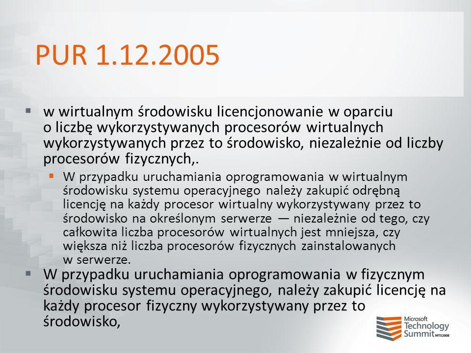 PUR 1.12.2005  w wirtualnym środowisku licencjonowanie w oparciu o liczbę wykorzystywanych procesorów wirtualnych wykorzystywanych przez to środowisk