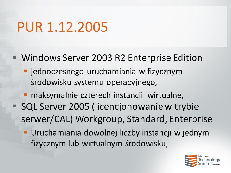 PUR 1.12.2005  Windows Server 2003 R2 Enterprise Edition  jednoczesnego uruchamiania w fizycznym środowisku systemu operacyjnego,  maksymalnie czte
