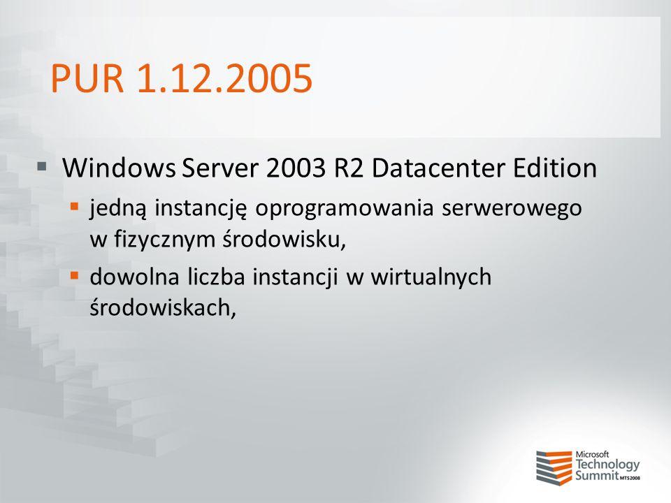 PUR 1.12.2005  Windows Server 2003 R2 Datacenter Edition  jedną instancję oprogramowania serwerowego w fizycznym środowisku,  dowolna liczba instan