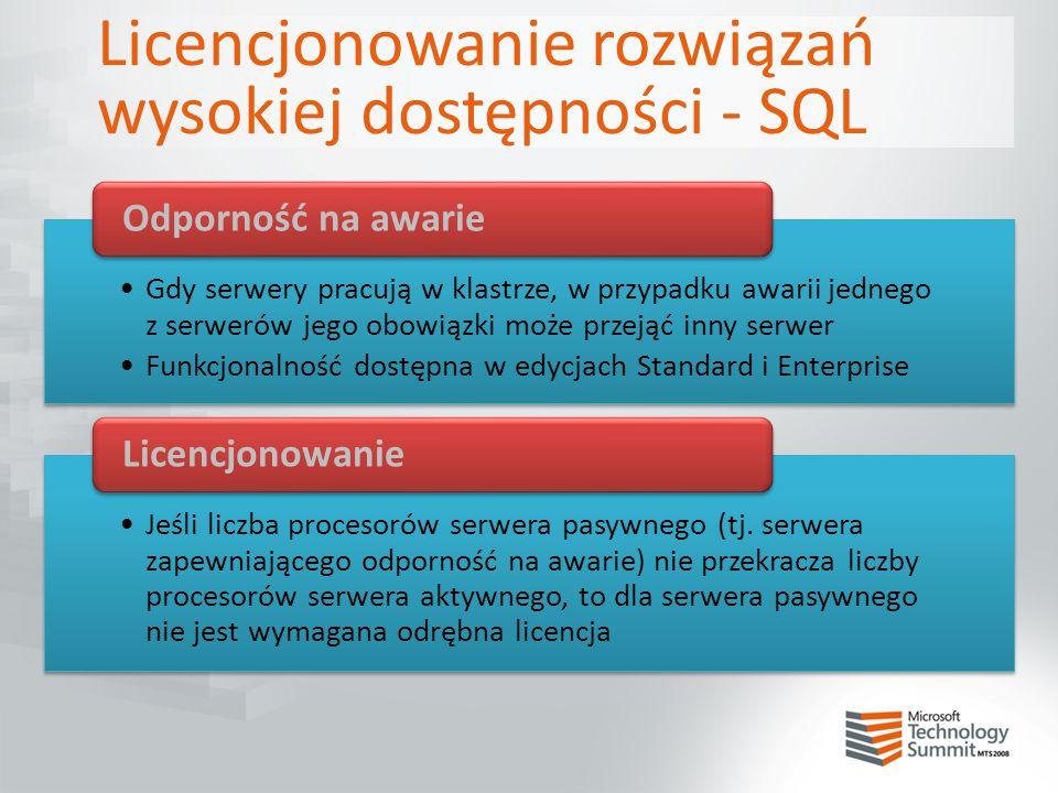 Licencjonowanie rozwiązań wysokiej dostępności - SQL