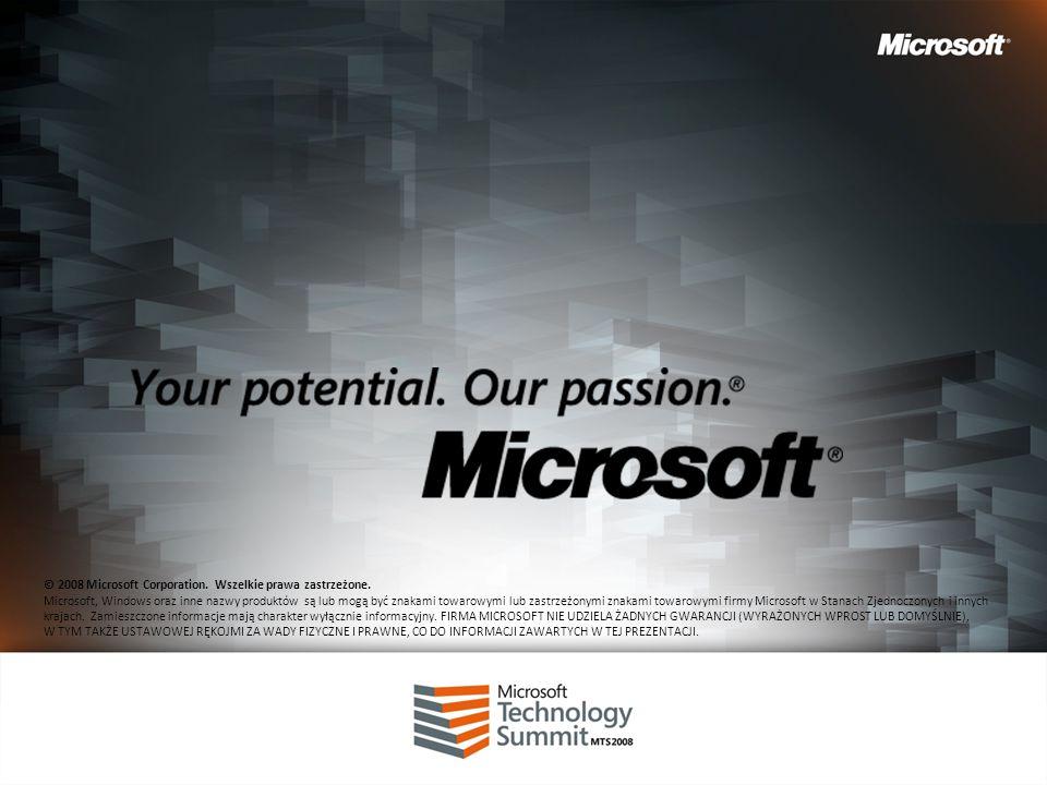 © 2008 Microsoft Corporation. Wszelkie prawa zastrzeżone. Microsoft, Windows oraz inne nazwy produktów są lub mogą być znakami towarowymi lub zastrzeż