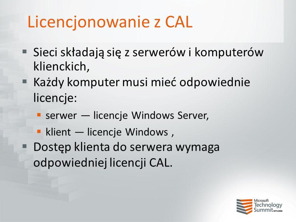 Licencjonowanie z CAL  Sieci składają się z serwerów i komputerów klienckich,  Każdy komputer musi mieć odpowiednie licencje:  serwer — licencje Wi