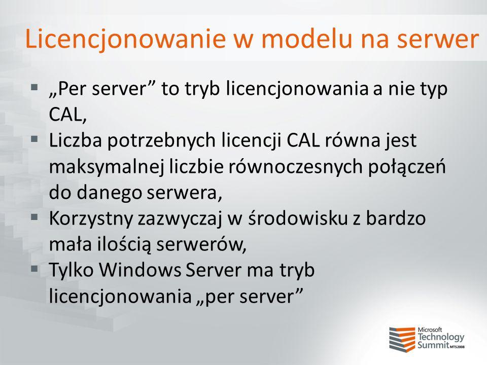 """Licencjonowanie w modelu na serwer  """"Per server"""" to tryb licencjonowania a nie typ CAL,  Liczba potrzebnych licencji CAL równa jest maksymalnej licz"""