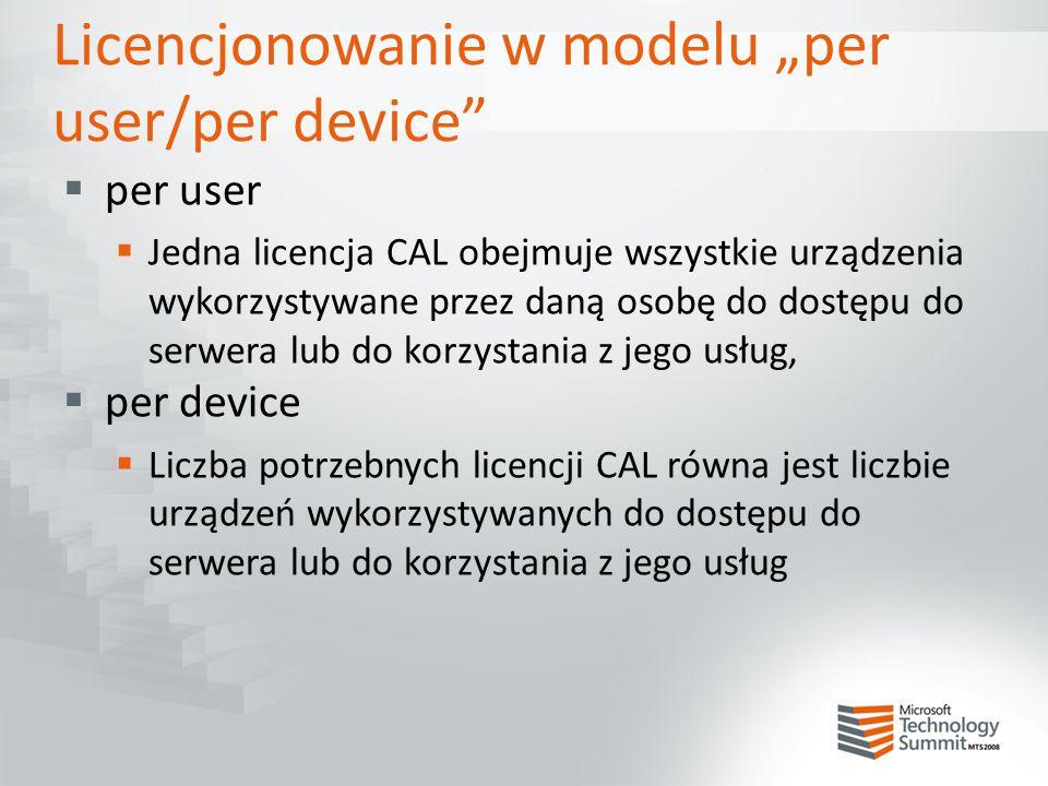 """Licencjonowanie w modelu """"per user/per device""""  per user  Jedna licencja CAL obejmuje wszystkie urządzenia wykorzystywane przez daną osobę do dostęp"""