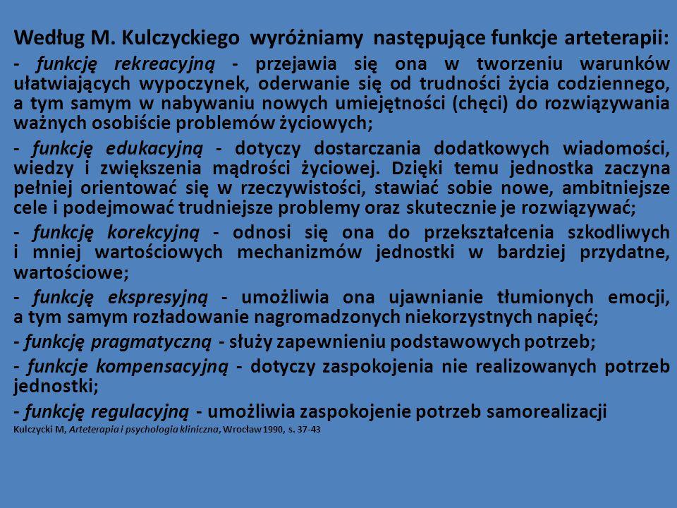 Według M. Kulczyckiego wyróżniamy następujące funkcje arteterapii: - funkcję rekreacyjną - przejawia się ona w tworzeniu warunków ułatwiających wypocz