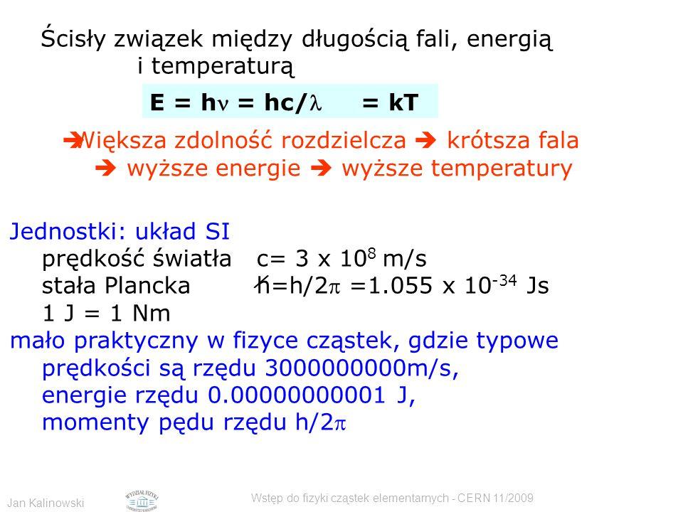 Jan Kalinowski Wstęp do fizyki cząstek elementarnych - CERN 11/2009 Ścisły związek między długością fali, energią i temperaturą E = h = hc/ = kT  Wię