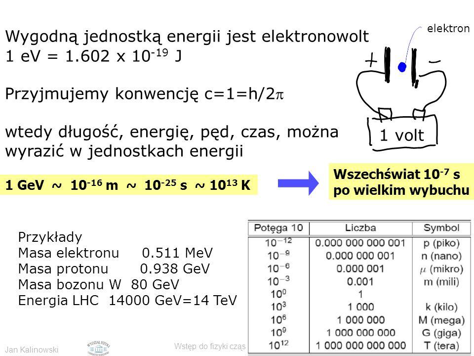 Jan Kalinowski Wstęp do fizyki cząstek elementarnych - CERN 11/2009 Wygodną jednostką energii jest elektronowolt 1 eV = 1.602 x 10 -19 J Przyjmujemy konwencję c=1=h/2 wtedy długość, energię, pęd, czas, można wyrazić w jednostkach energii 1 GeV ~ 10 -16 m ~ 10 -25 s ~ 10 13 K Przykłady Masa elektronu 0.511 MeV Masa protonu 0.938 GeV Masa bozonu W 80 GeV Energia LHC 14000 GeV=14 TeV 1 volt elektron Wszechświat 10 -7 s po wielkim wybuchu