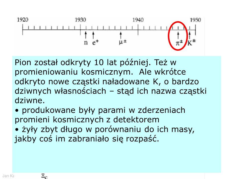 Jan Kalinowski Wstęp do fizyki cząstek elementarnych - CERN 11/2009 Pion został odkryty 10 lat później. Też w promieniowaniu kosmicznym. Ale wkrótce o