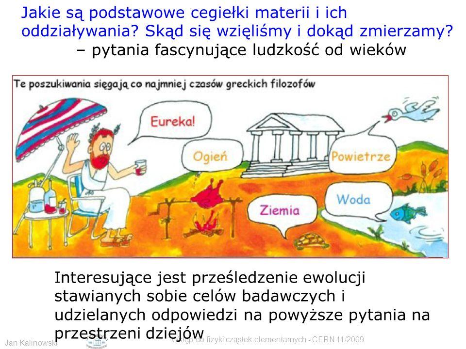 Jan Kalinowski Wstęp do fizyki cząstek elementarnych - CERN 11/2009 Jakie są podstawowe cegiełki materii i ich oddziaływania? Skąd się wzięliśmy i dok