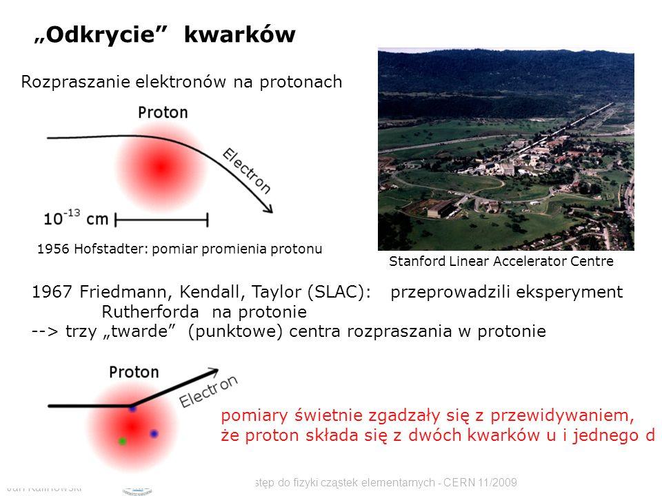 """Jan Kalinowski Wstęp do fizyki cząstek elementarnych - CERN 11/2009 Rozpraszanie elektronów na protonach """" Odkrycie kwarków Stanford Linear Accelerator Centre 1956 Hofstadter: pomiar promienia protonu 1967 Friedmann, Kendall, Taylor (SLAC): przeprowadzili eksperyment Rutherforda na protonie --> trzy """"twarde (punktowe) centra rozpraszania w protonie pomiary świetnie zgadzały się z przewidywaniem, że proton składa się z dwóch kwarków u i jednego d"""