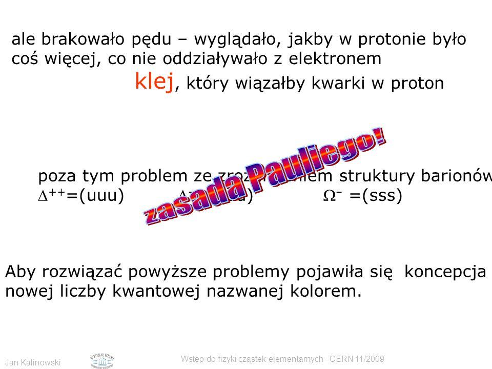 Jan Kalinowski Wstęp do fizyki cząstek elementarnych - CERN 11/2009 ale brakowało pędu – wyglądało, jakby w protonie było coś więcej, co nie oddziaływ