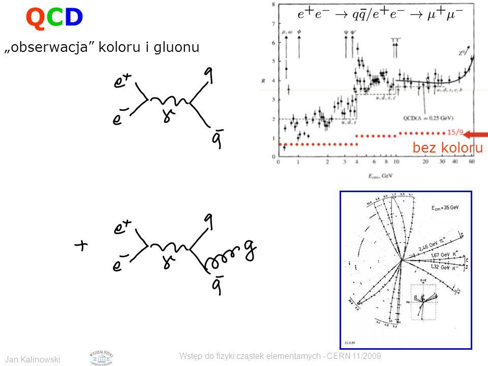 """Jan Kalinowski Wstęp do fizyki cząstek elementarnych - CERN 11/2009 """"obserwacja"""" koloru i gluonu QCDQCD bez koloru"""
