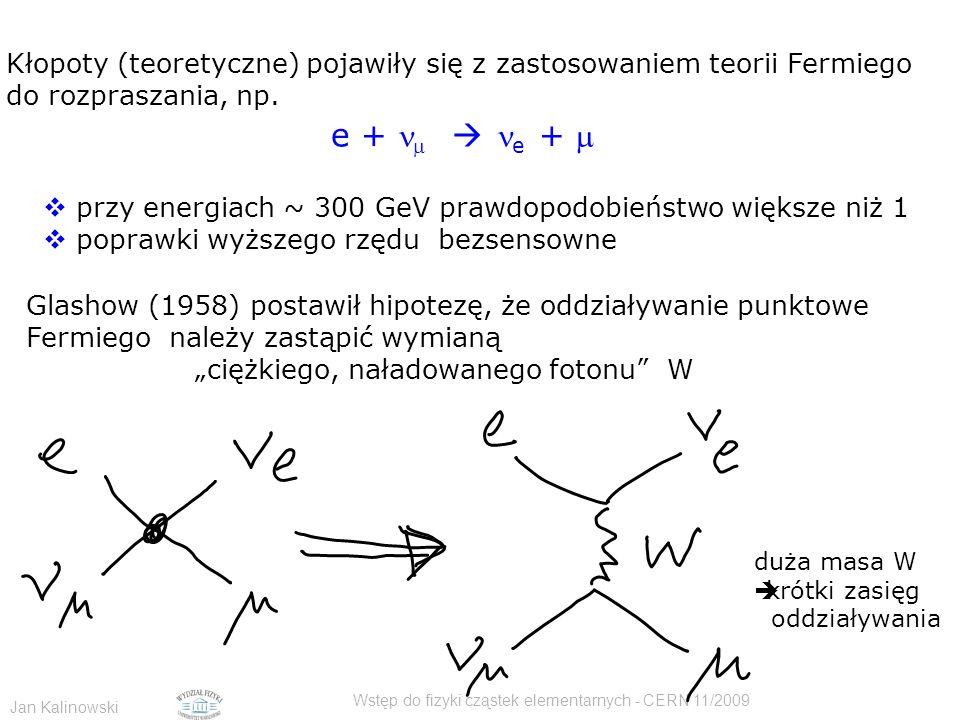 Jan Kalinowski Wstęp do fizyki cząstek elementarnych - CERN 11/2009 Kłopoty (teoretyczne) pojawiły się z zastosowaniem teorii Fermiego do rozpraszania