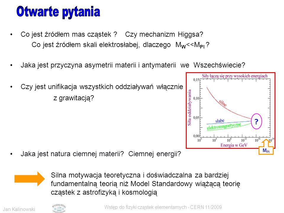 Jan Kalinowski Wstęp do fizyki cząstek elementarnych - CERN 11/2009 Co jest źródłem mas cząstek ? Czy mechanizm Higgsa? Co jest źródłem skali elektros