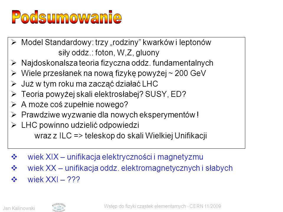 """Jan Kalinowski Wstęp do fizyki cząstek elementarnych - CERN 11/2009  Model Standardowy: trzy """"rodziny"""" kwarków i leptonów siły oddz.: foton, W,Z, glu"""