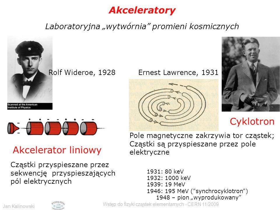 """Jan Kalinowski Wstęp do fizyki cząstek elementarnych - CERN 11/2009 1931 - 1955 Akceleratory Laboratoryjna """"wytwórnia promieni kosmicznych Cyklotron Pole magnetyczne zakrzywia tor cząstek; Cząstki są przyspieszane przez pole elektryczne Cząstki przyspieszane przez sekwencję przyspieszających pól elektrycznych Rolf Wideroe, 1928 1931: 80 keV 1932: 1000 keV 1939: 19 MeV 1946: 195 MeV ( synchrocyklotron ) 1948 – pion """"wyprodukowany Akcelerator liniowy Ernest Lawrence, 1931"""