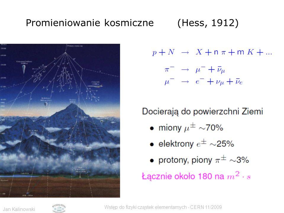 Jan Kalinowski Wstęp do fizyki cząstek elementarnych - CERN 11/2009 Promieniowanie kosmiczne (Hess, 1912)