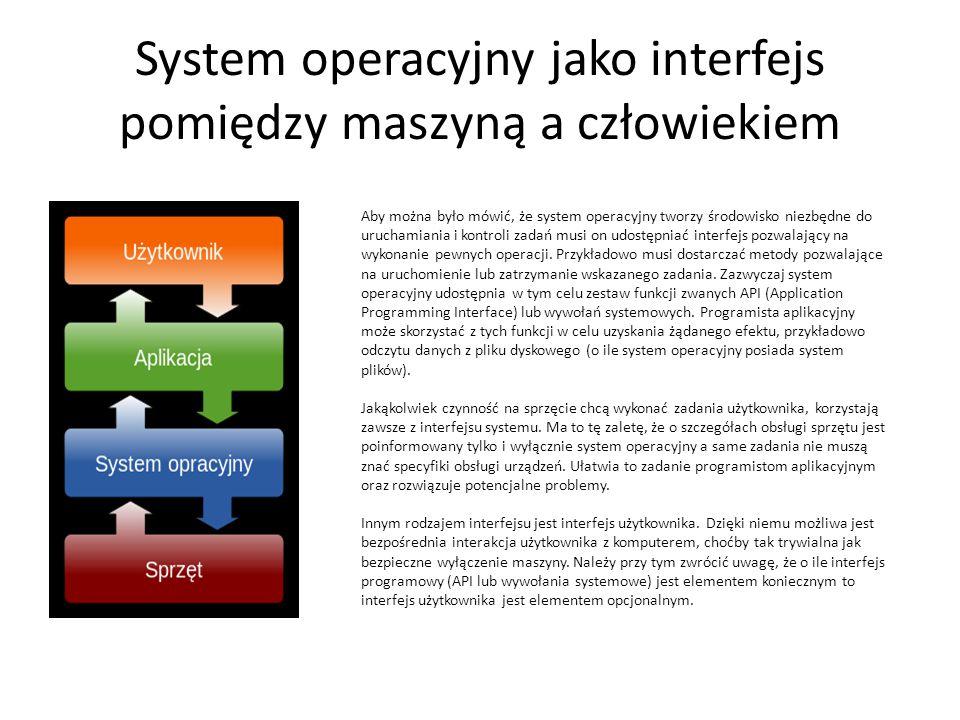 System operacyjny jako interfejs pomiędzy maszyną a człowiekiem Aby można było mówić, że system operacyjny tworzy środowisko niezbędne do uruchamiania i kontroli zadań musi on udostępniać interfejs pozwalający na wykonanie pewnych operacji.