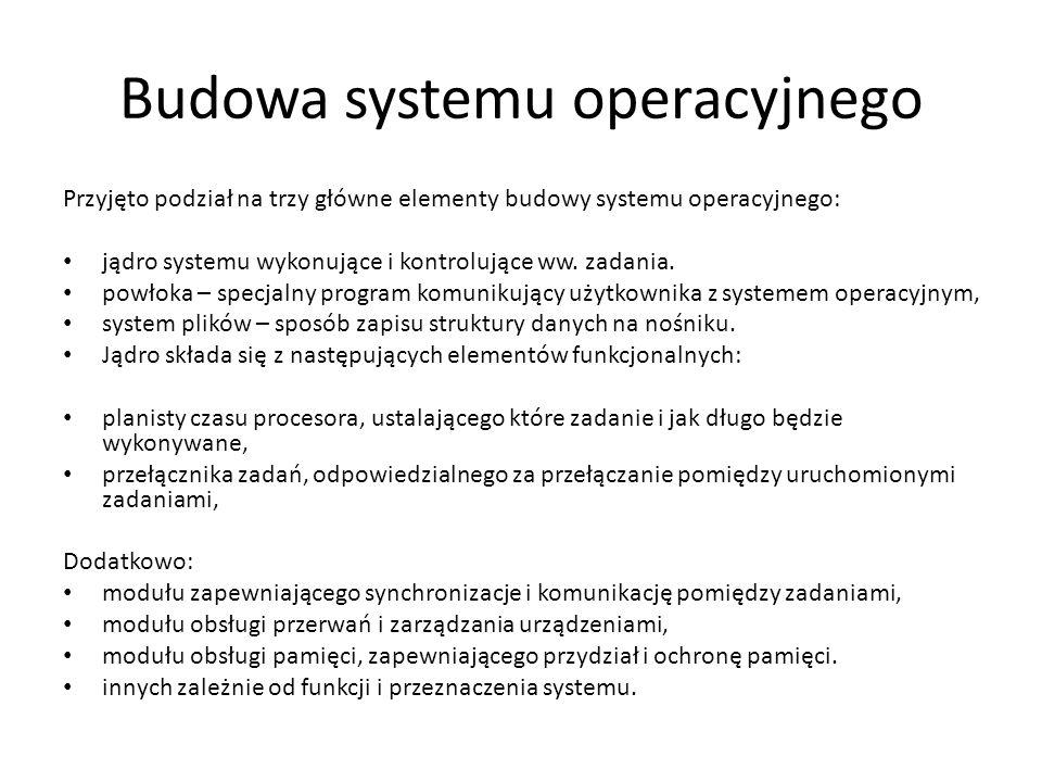 Podział systemów operacyjnych Najszerszym, ale najbardziej podstawowym kryterium podziału systemów operacyjnych jest podział na: system operacyjny czasu rzeczywistego (RTOS) systemy operacyjne czasowo niedeterministyczne Podział ten odnosi się do najbardziej podstawowej funkcjonalności systemu operacyjnego jakim jest planowanie i przydział czasu procesora poszczególnym zadaniom.