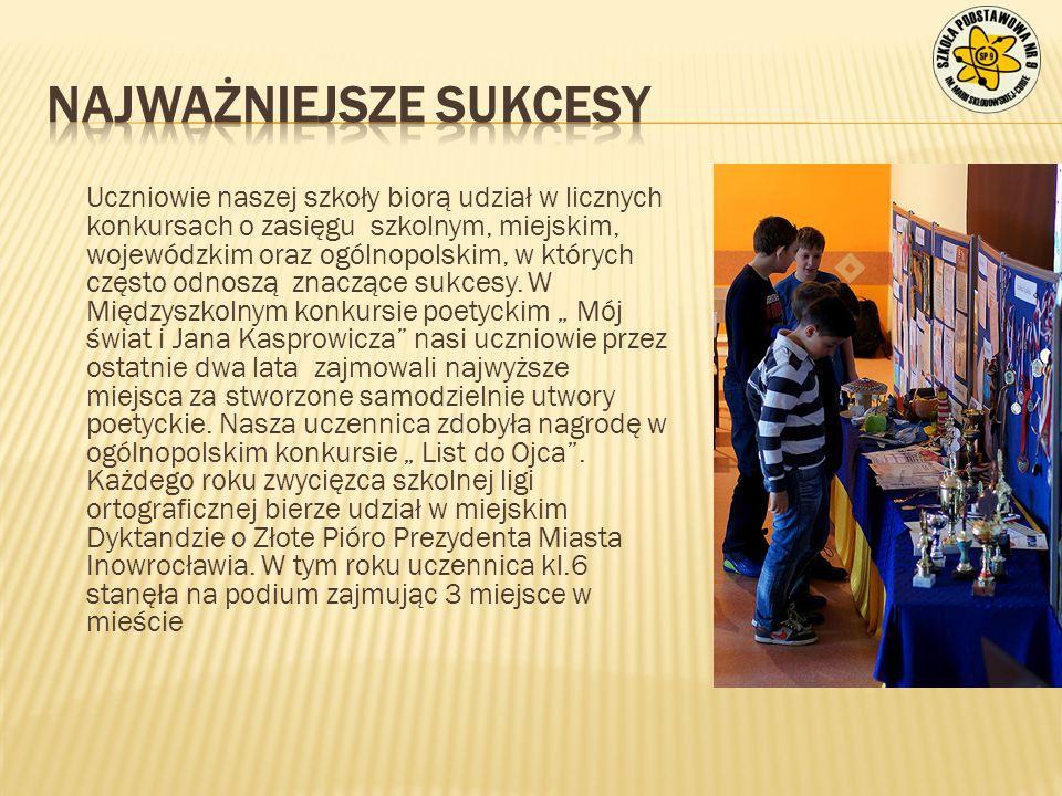 Uczniowie naszej szkoły biorą udział w licznych konkursach o zasięgu szkolnym, miejskim, wojewódzkim oraz ogólnopolskim, w których często odnoszą znac