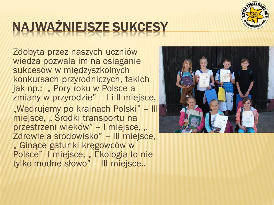 """Zdobyta przez naszych uczniów wiedza pozwala im na osiąganie sukcesów w międzyszkolnych konkursach przyrodniczych, takich jak np.: """" Pory roku w Polsc"""