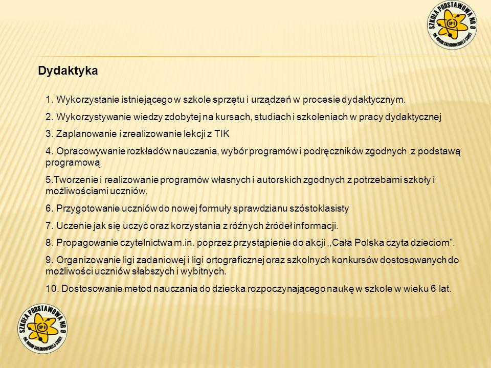 Dydaktyka 1. Wykorzystanie istniejącego w szkole sprzętu i urządzeń w procesie dydaktycznym. 2. Wykorzystywanie wiedzy zdobytej na kursach, studiach i